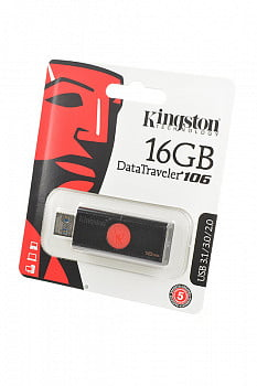 Носитель информации KINGSTON USB 3.1/3.0/2.0 16GB DataTraveler DT106 черный с красным BL1