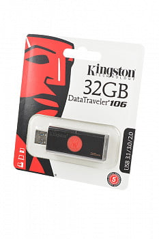 Носитель информации KINGSTON USB 3.1/3.0/2.0 32GB DataTraveler DT106 черный с красным BL1