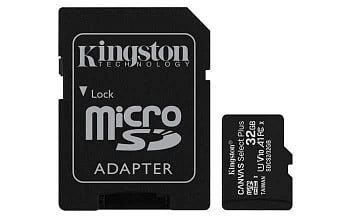 Карта памяти Kingston Micro SDHC 32 Gb Class 10 U1 UHS-I, 80MB/s Canvas Select + SD Adapter