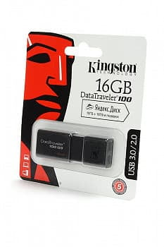 Носитель информации KINGSTON USB 3.0/2.0 16GB DataTraveler 100 G3 черный BL1