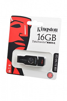 Носитель информации KINGSTON USB 3.1/3.0/2.0 16GB DataTraveler SWIVL металл с черным BL1