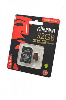 Носитель информации KINGSTON CANVAS React MicroSD 32GB (Class 10) UHS-I (100 Mb/s) с адаптером BL1