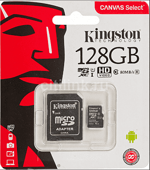 Карта памяти Kingston Micro SDXC 128 Gb Class 10 U1 A1 UHS-I, 100MB/s Canvas Select Plus + SD Adapter