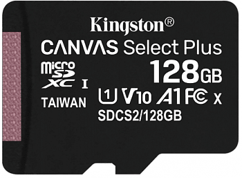 Карта памяти Kingston SDXC 128 Gb Class 10 U3 V30 UHS-I, 100MB/s Canvas Select Plus