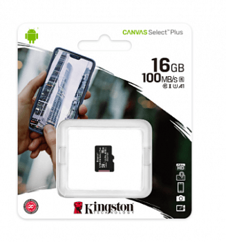 Карта памяти Kingston Micro SDHC 16 Gb Class 10 U1 A1 UHS-I, 100MB/s Canvas Select Plus без адаптера