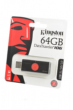 Носитель информации KINGSTON USB 3.1/3.0/2.0 64GB DataTraveler DT106 черный с красным BL1