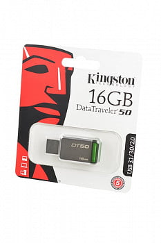 Носитель информации KINGSTON USB 3.1/3.0/2.0 16GB DataTraveler DT50 металл с зеленым BL1