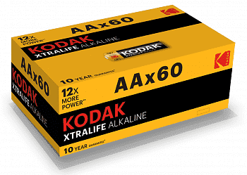 Алкалиновая батарейка Kodak LR6-60 (4S) colour box XTRALIFE [KAA-60]
