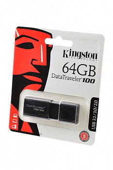 Носитель информации KINGSTON USB 3.1/3.0/2.0 64GB DataTraveler 100 G3 черный BL1