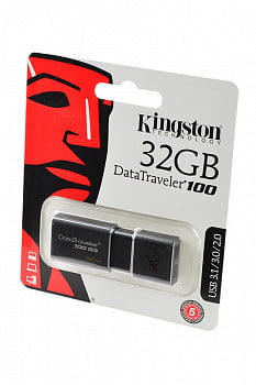 Носитель информации KINGSTON USB 3.1/3.0/2.0 32GB DataTraveler 100 G3 черный BL1