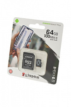 Носитель информации KINGSTON CANVAS Select Plus microSD 64GB (Class 10) A1 (100 Mb/s) с адаптером BL1