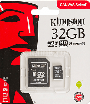 Карта памяти Kingston Micro SDHC 32 Gb Class 10 U1 A1 UHS-I, 100MB/s Canvas Select Plus без адаптера